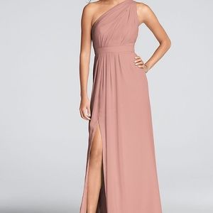 Long one shoulder crinkle chiffon Dress